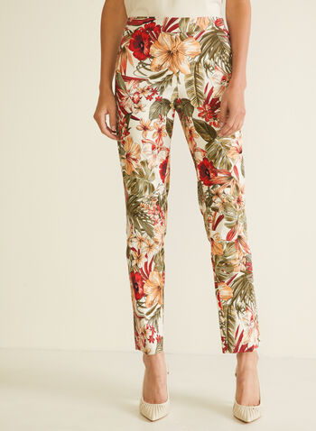 Tropical Print City Fit Pants, Orange,  pants, pull-on, city fit, slim leg, tropical print. spring summer 2020