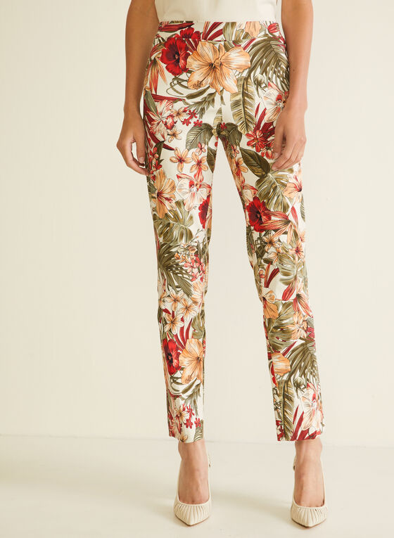 Tropical Print City Fit Pants, Orange