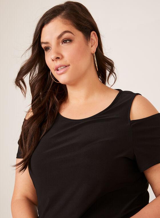 Blouse asymétrique en jersey avec épaules dénudées, Noir, hi-res