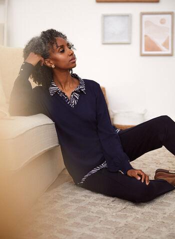 Animal Print Fooler Sweater, Blue,  fall 2021, sweater, shirt, blouse, top, fooler style, layering, knit, fabric, shirt collar, buttons, long sleeves, animal print, zebra print