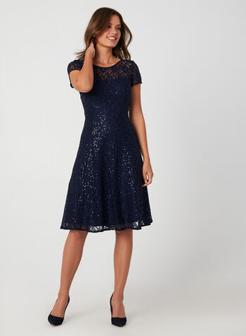 Sequined Lace Fit & Flare Dress, Blue, hi-res,  cocktail dress, dress, sequins, lace, fit and flare, zipper, fall 2019, winter 2019
