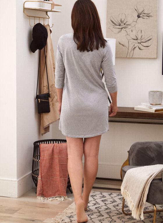 Embroidered Cat Nightshirt, Grey