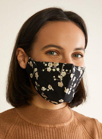 Pin Point - Floral Print Mask, Black,  mask, protective, reusable, washable, breathable, comfortable, spring summer 2020