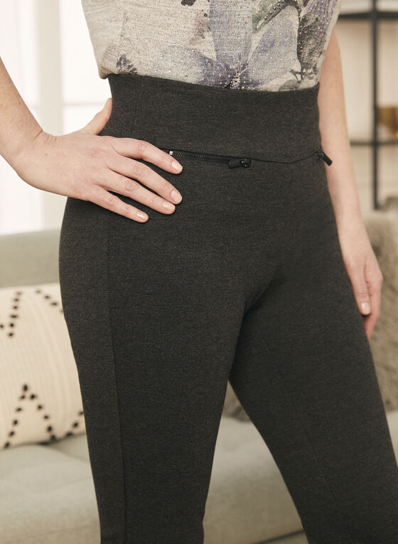 Straight Leg Pull-On Pants, Grey
