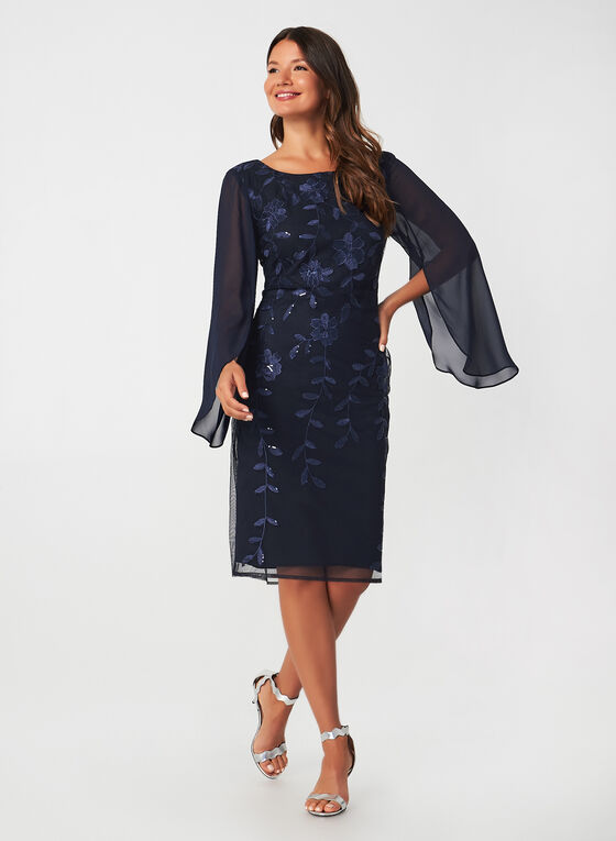 Sequin Embroidered Dress, Blue