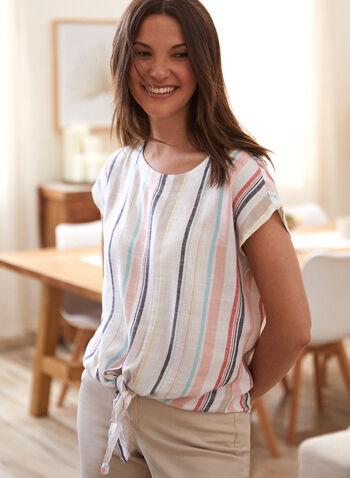 Charlie B - Linen Tie Detail Blouse, White,  spring summer 2021, Charlie B, designer, brand, round neck, short sleeve, drop shoulder, tie front, tie detail, vertical stripe, striped, stripe print, linen, linen blend, top, tee, blouse
