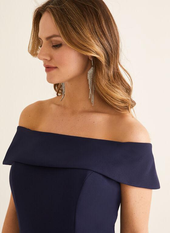 Combinaison à col Bardot et mousseline, Bleu