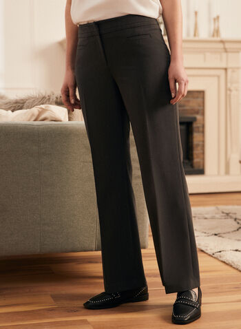 Straight Leg Pants, Grey,  pants, straight leg, pleats, zip fly, hook & bar, fall winter 2020