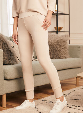 Pantalon pull-on à jambe étroite, Beige,  pantalon, à enfiler, pull-on, jambe étroite, poches, fente, extensible, printemps été 2021