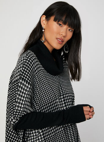 Houndstooth Print Poncho Sweater, Black, hi-res,  poncho, long sleeves, ribbed, knit, cowl neck, fall 2019, winter 2019