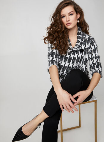 Geometric Print Knit Top, Black,  Canada, top, jacquard, knit, geometric, 3/4 sleeves, fall 2019, winter 2019
