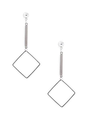 Open Square Dangle Earrings, Grey, hi-res