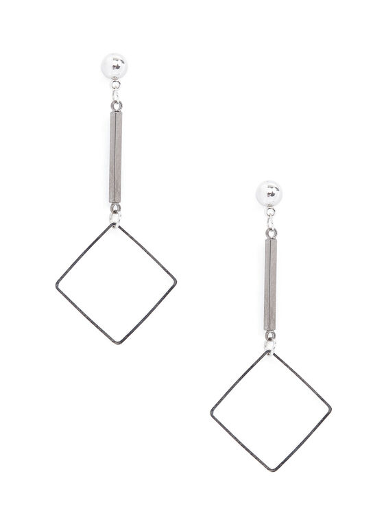 Open Square Dangle Earrings, Grey, hi-res