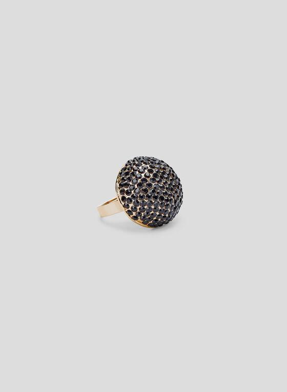 Crystal Dome Ring, Black, hi-res