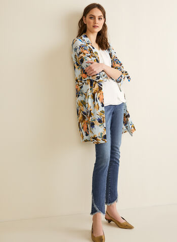 Floral Print Duster, Blue,  spring summer 2020, duster, open front, tie detail
