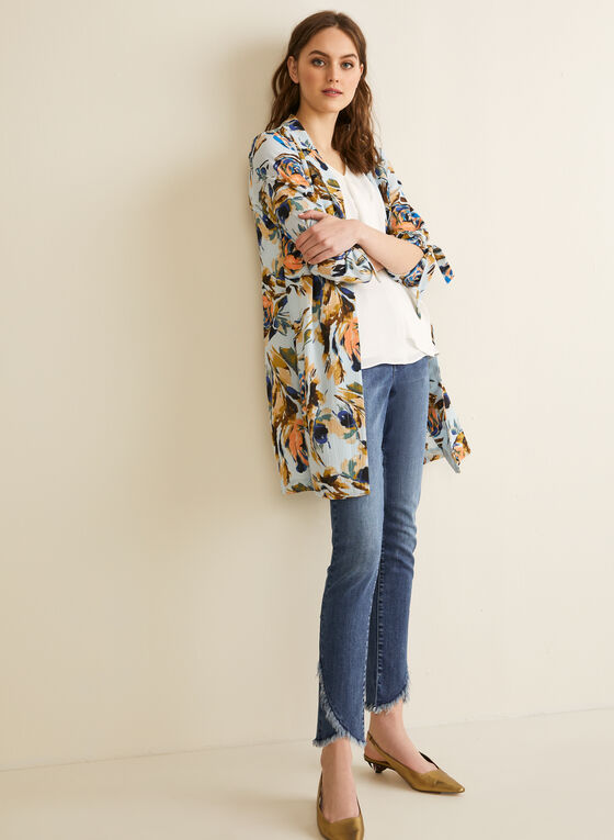 Floral Print Duster, Blue