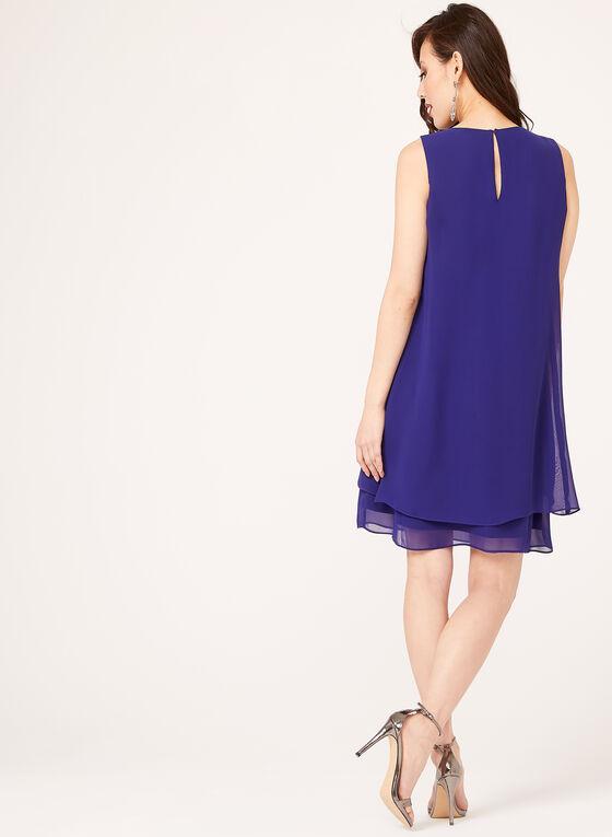 Layered Crystal Bead Bolero Dress, Purple, hi-res