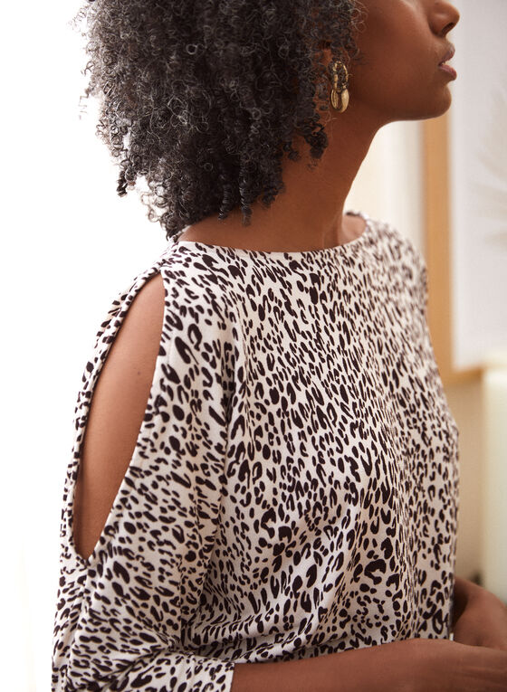 Animal Print Cold Shoulder Top, White