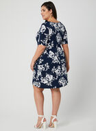 Floral Print Elbow Sleeve Dress, Blue, hi-res