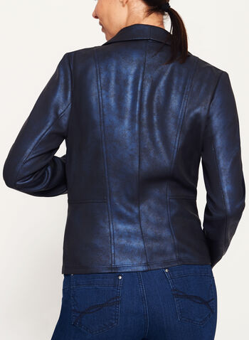 Faux Leather Scuba Knit Jacket, Blue, hi-res