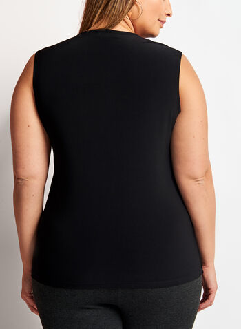 Basic Sleeveless Scoop Neck Top, Black, hi-res