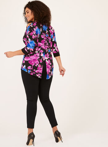 Floral Print Cold Shoulder Tunic, Multi, hi-res