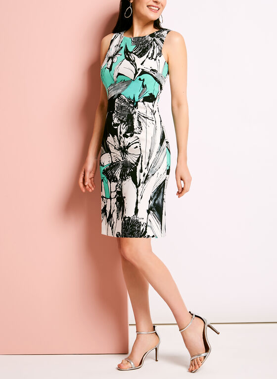 Sleeveless Floral Print Sheath Dress, Blue, hi-res