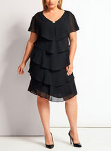 Flutter Sleeve Tiered Dress, Black, hi-res