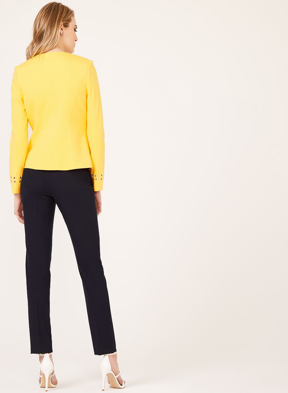 Grommet Detail Open Front Jacket, Yellow, hi-res