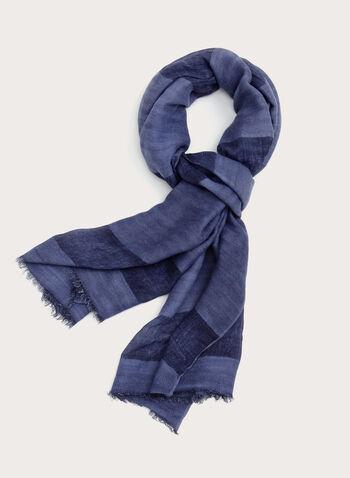 Tonal Stripe Pashmina Scarf, Blue, hi-res