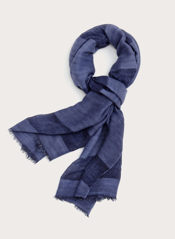Foulard pashmina rayé à petites franges, Bleu, hi-res