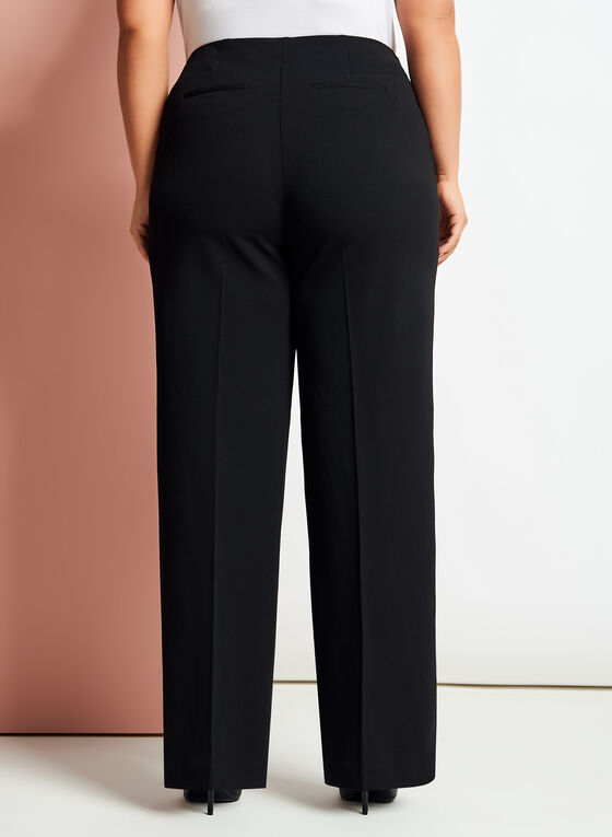 Modern Fit Wide Leg Crepe Pants, Black, hi-res