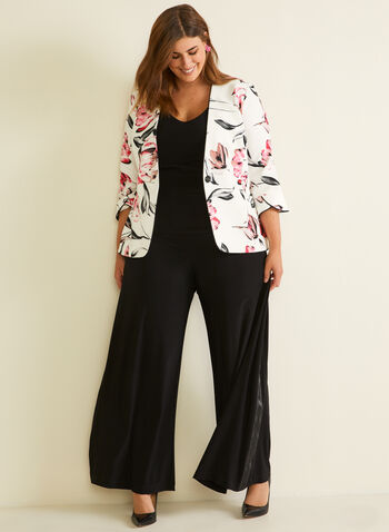 Joseph Ribkoff - Floral Print Single Button Blazer, White,  blazer, floral, button, crepe, tulip sleeve, 3/4 sleeves, contrast, spring summer 2020