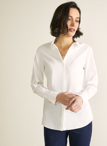 Long Sleeve Cotton Blouse , White,  top, blouse, cotton, long sleeves, buttons, placket, Spring 2020
