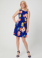 Floral Print Trapeze Dress, Blue, hi-res