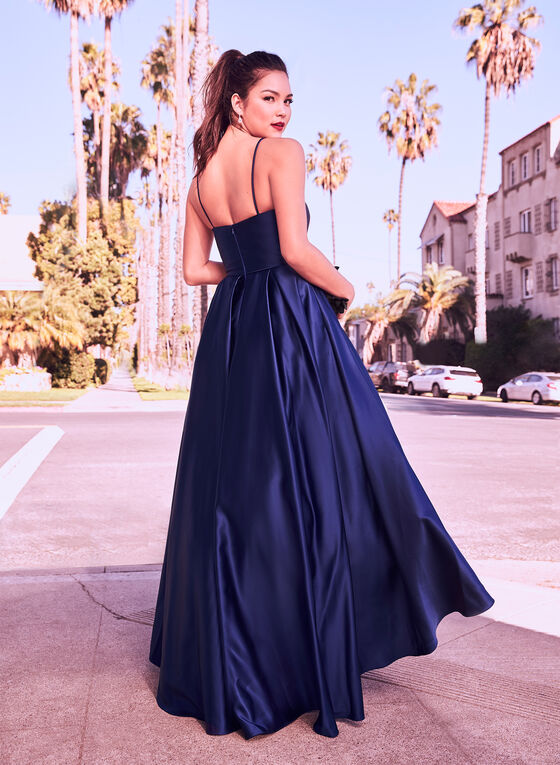 Fit & Flare Satin Ball Gown, Blue, hi-res