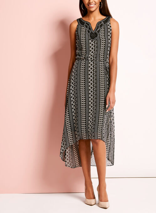 Geometric Print Embellished High-Low Dress, Black, hi-res
