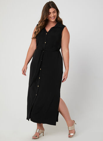 Button Down Maxi Dress, Black, hi-res,  long dress, shirt dress