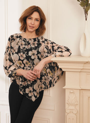 Floral Print Poncho Blouse, Black,  top, poncho, asymmetrical, floral, chiffon, 3/4 sleeves, spring summer 2021