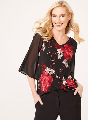 Chiffon Bell Sleeve Tunic, Black, hi-res