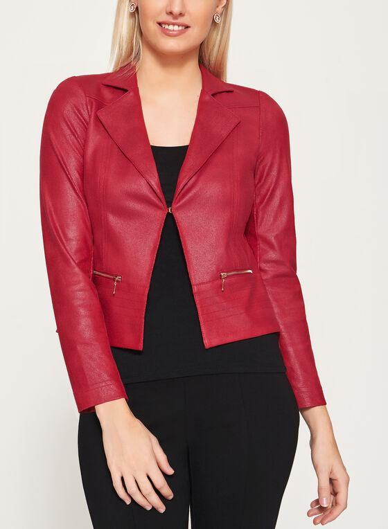 Vex - Faux Suede Zipper Trim Jacket, Red, hi-res