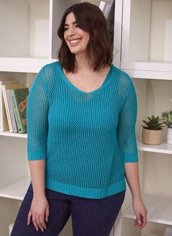 Pull en crochet et débardeur inclus, Vert turquoise,  pull, manches 3/4, crochet, débardeur, printemps été 2020
