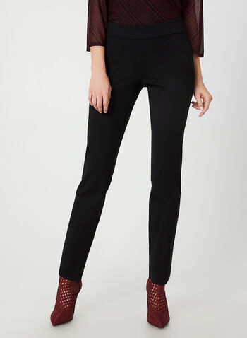 City Fit Slim Leg Pants, Black, hi-res,  pants, city fit, pull on, ponte de roma, straight legs, fall 2019, winter 2019