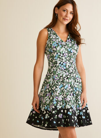Floral Print Fit & Flare Dress, Black,  day dress, v-neck, sleeveless, floral, crinoline, spring summer 2020