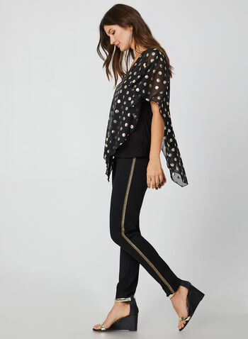 Metallic Polka Dot Print Top, Black,  canada, poncho, top, sleeveless, metallic, polka dots, polka dot print, polka dot top, jersey