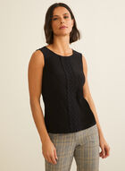 Sleeveless Appliqué Top, Black