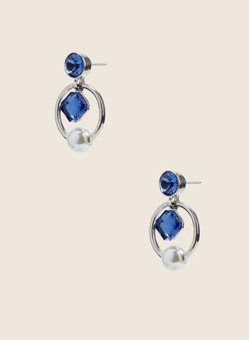 Pearl & Square Stone Dangle Earrings , Blue,  earrings, crystal stud, hoop, pearl, square stone, summer spring 2020