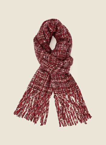 Fringed Checkered Scarf, Red,  fall winter 2020, scarf, checks, pattern, checkered, fringes, accessories