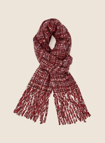 Foulard motif quadrillé à franges, Rouge,  automne hiver 2020, foulard, carreaux, motif, carreauté, franges, accessoires