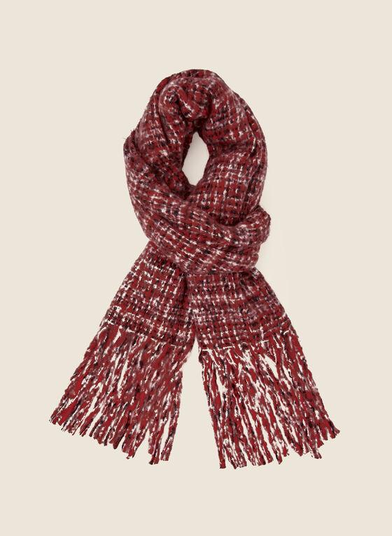 Foulard motif quadrillé à franges, Rouge